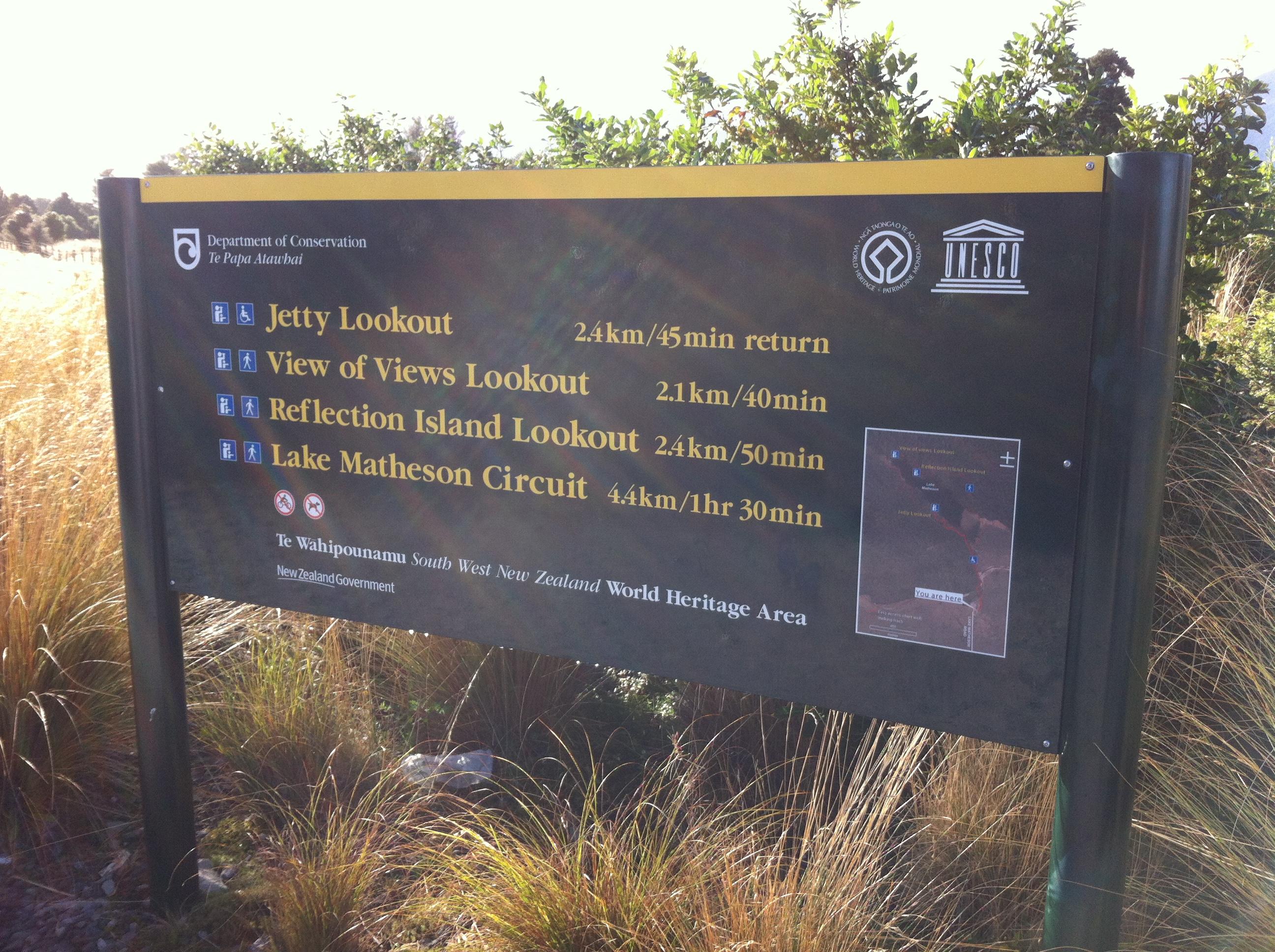 Yvonderweg - Hoe en wat in Nieuw Zeeland - Bordje DoC