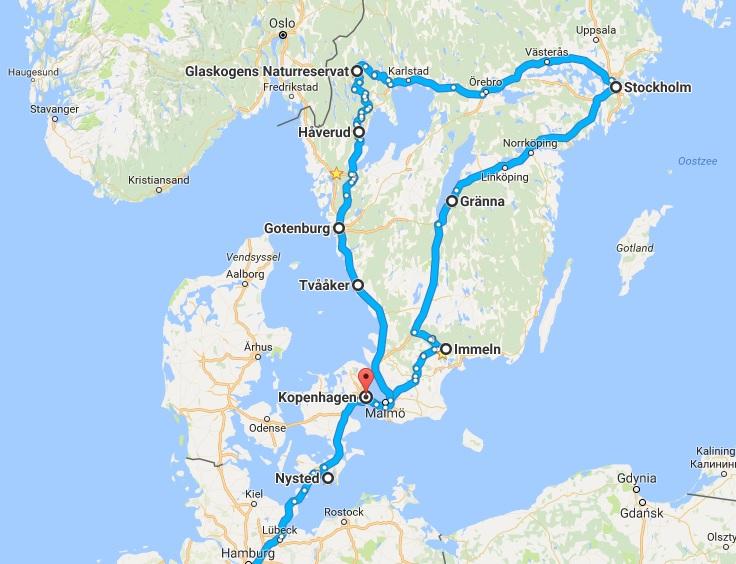 Roadtrip door Zweden op de kaart