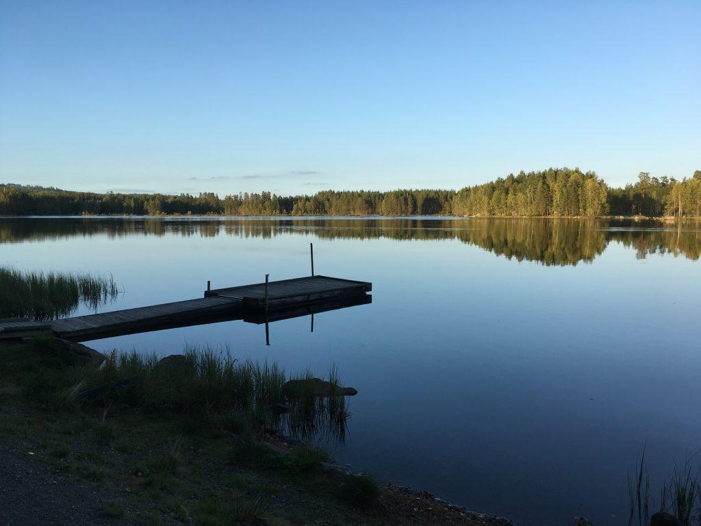 Prachtig uitzicht over het meer bij Glaskogens Naturreservat.