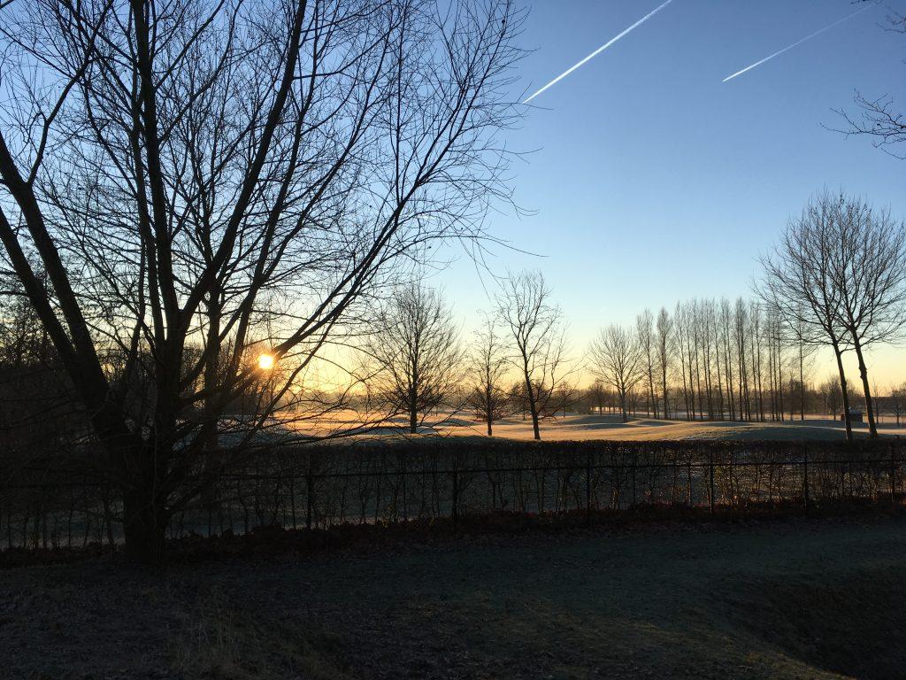 Golfbaan Amelisweerd Mereveldseweg Utrecht ochtendzon winterlandschap