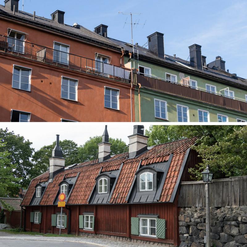 Wandelen door Stockholm langs oude en nieuwe huizen.
