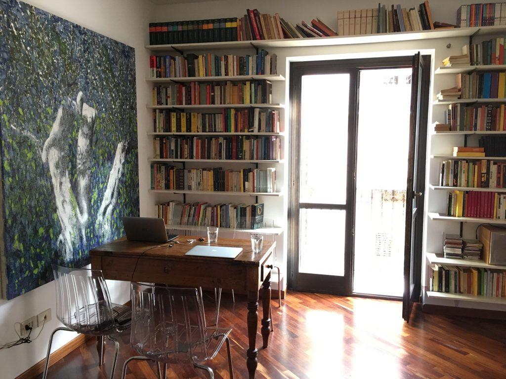 Werkplek in ons appartement in Palermo.