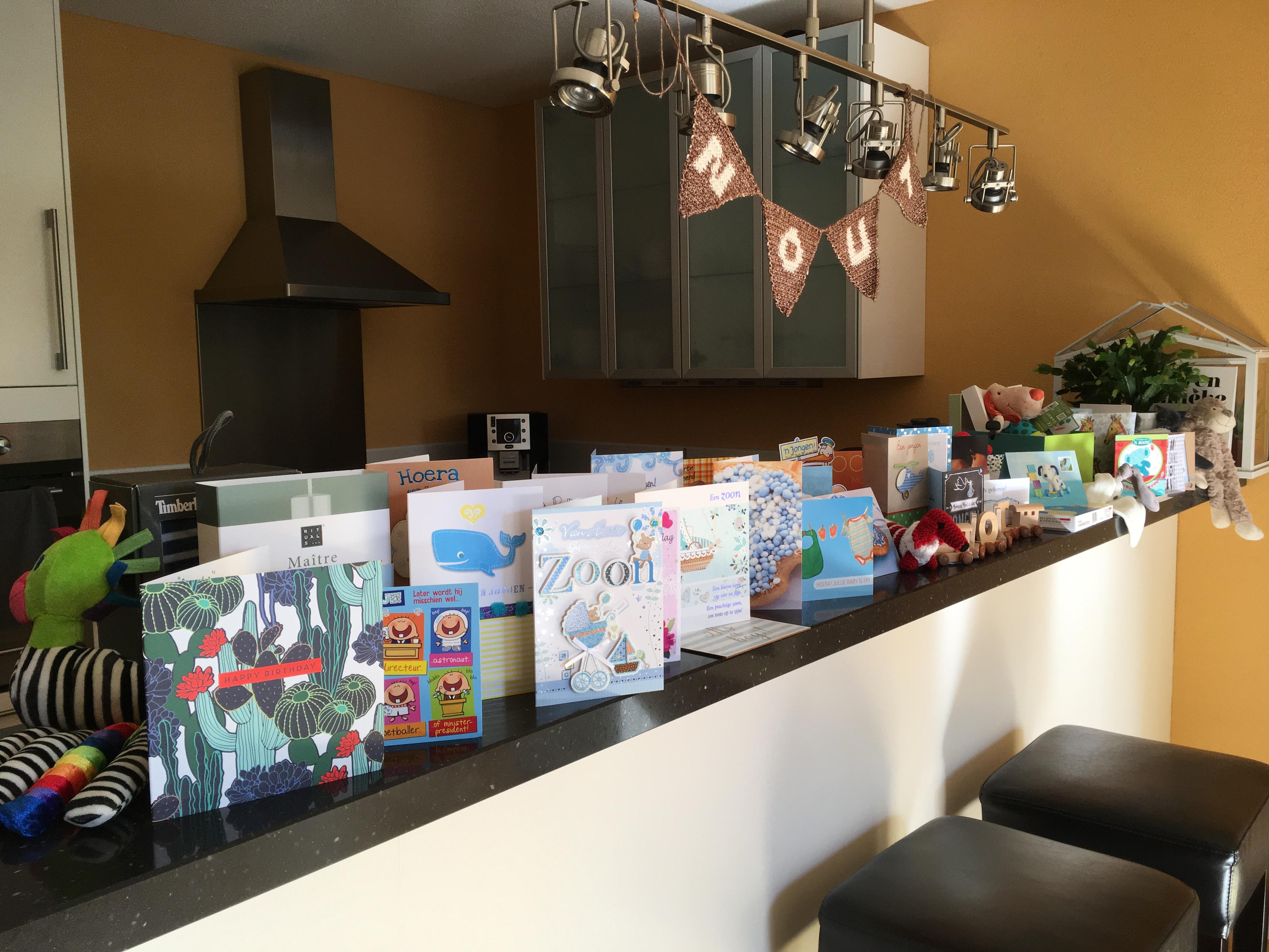 Dankbaar voor alle kaartjes en cadeautjes die we hebben gekregen.