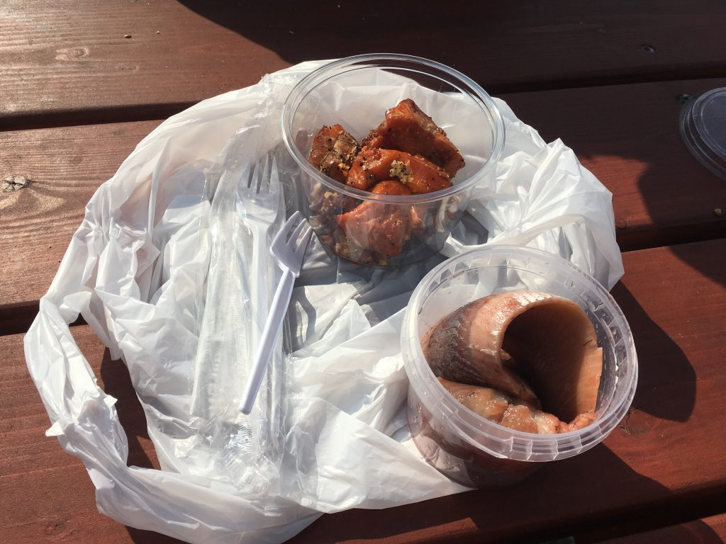 Ingelegde haring en zalm eten op het terras bij de Feskekorka (viskerk) in Goteborg